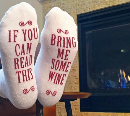 If You Can Read This, Bring Me Some Wine - Christmas Socks
