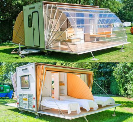 Incredible Folding Camping Trailer Expands To Triple Its Size With Fold-Out Awnings
