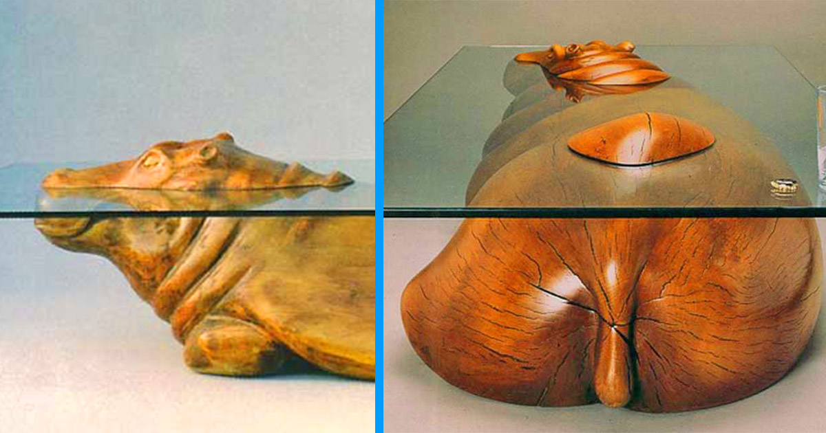 Incredible Glass Hippo Table Makes It Look Like He