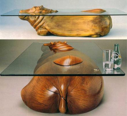 Incredible Glass Hippo Table Makes It Look Like He's Peaking His Head Out Of The Water