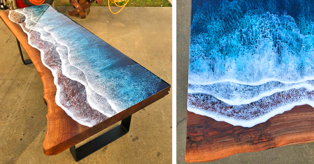 Incredible Resin Tables Made To Look Like Ocean Waves Washing Up On Shore