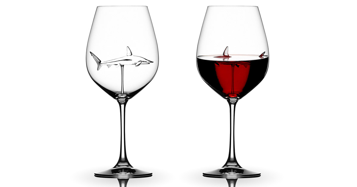 Incredibly Designed Shark Wine Glasses Makes a Shark Appear To Be Swimming In Your Drink