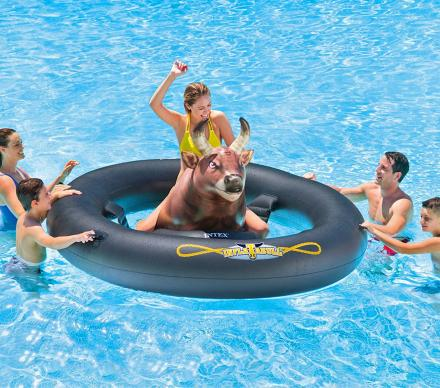 Inflat-A-Bull: An Inflatable Bull Riding Pool Toy