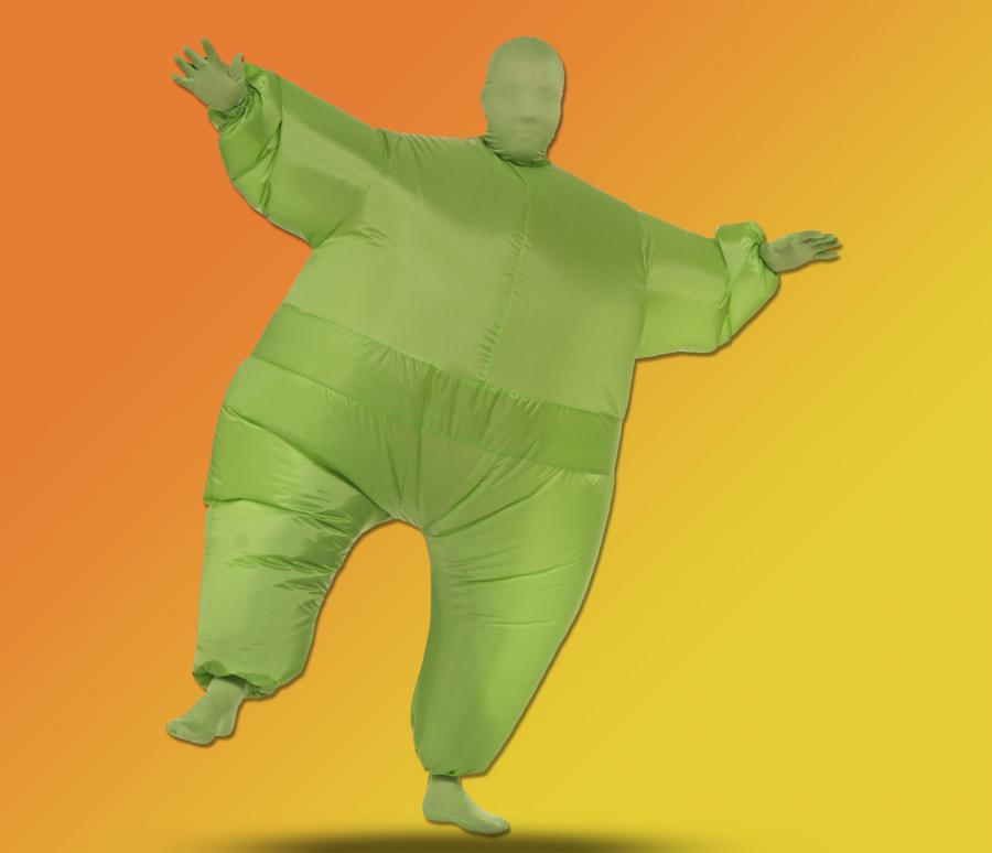 The inflatable fat suit is a Halloween costume that turns you into a fat guy. Made from 100% polyblend the inflatable fat-suit costume inflates using a ... & Inflatable Fat Suit Costume