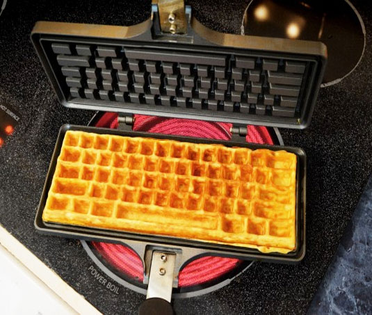 the keyboard waffle iron is a waffle iron thatu0027s in the shape of a computer keyboard originally designed as a concept by chris dimino a brooklyn based