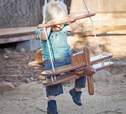 Kid's Outdoor Wooden Airplane Swing