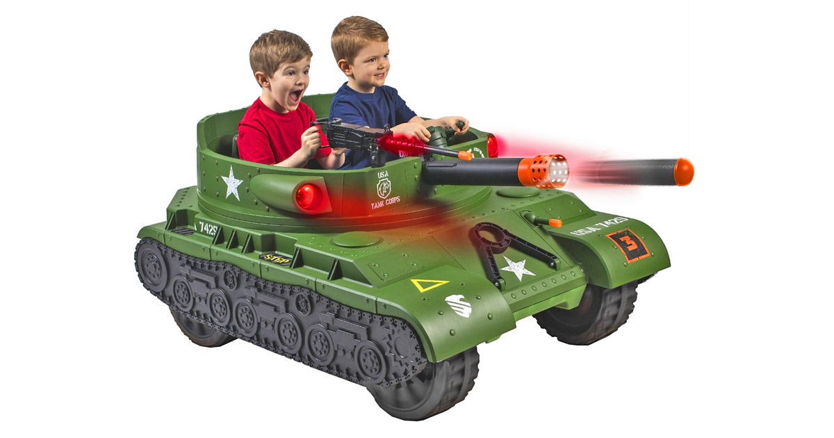 This Kids Ride-On Electric Tank Actually Has a Working Toy Cannon