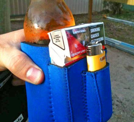 This Beer Koozie Holds a Pack of Cigs and Lighter (Or Snacks, Phone, Lipstick)
