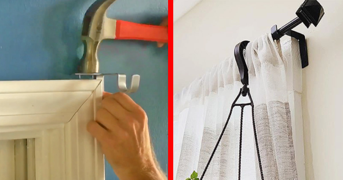 These Genius Tap-In Curtain Rod Holders Install In Just Seconds
