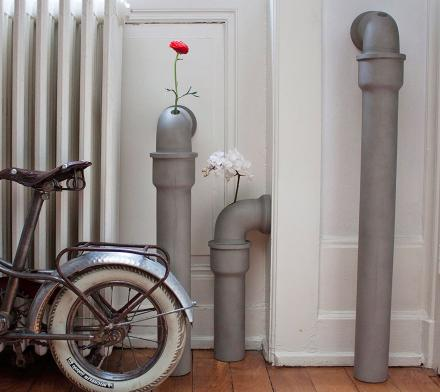 Industrial Pipes That Are Actually Concrete Flower Vases