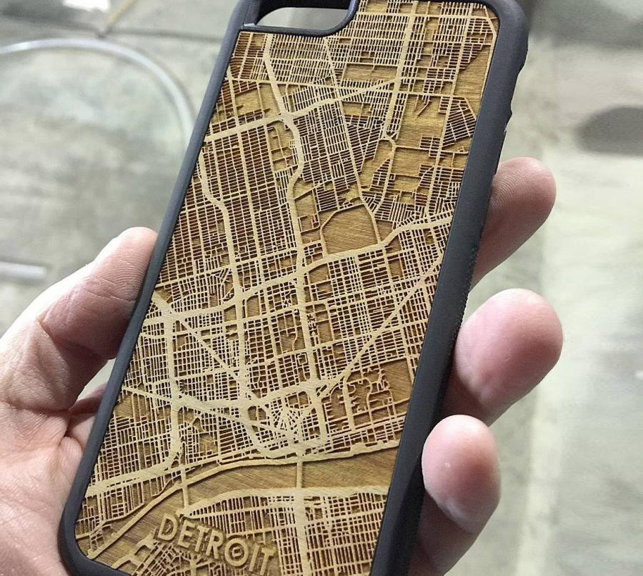 Laser Cut Wooden City Maps Made Into Smart Phone Cases Enlarge Image