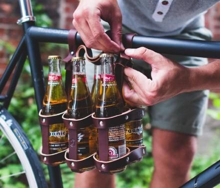 Leather 6-Pack of Beer Bicycle Carrier