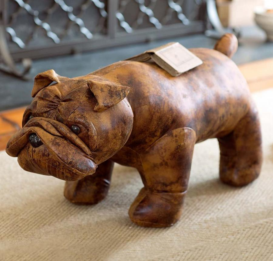 Leather English Bulldog Ottoman