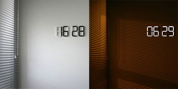 led digital wall clock. Black Bedroom Furniture Sets. Home Design Ideas