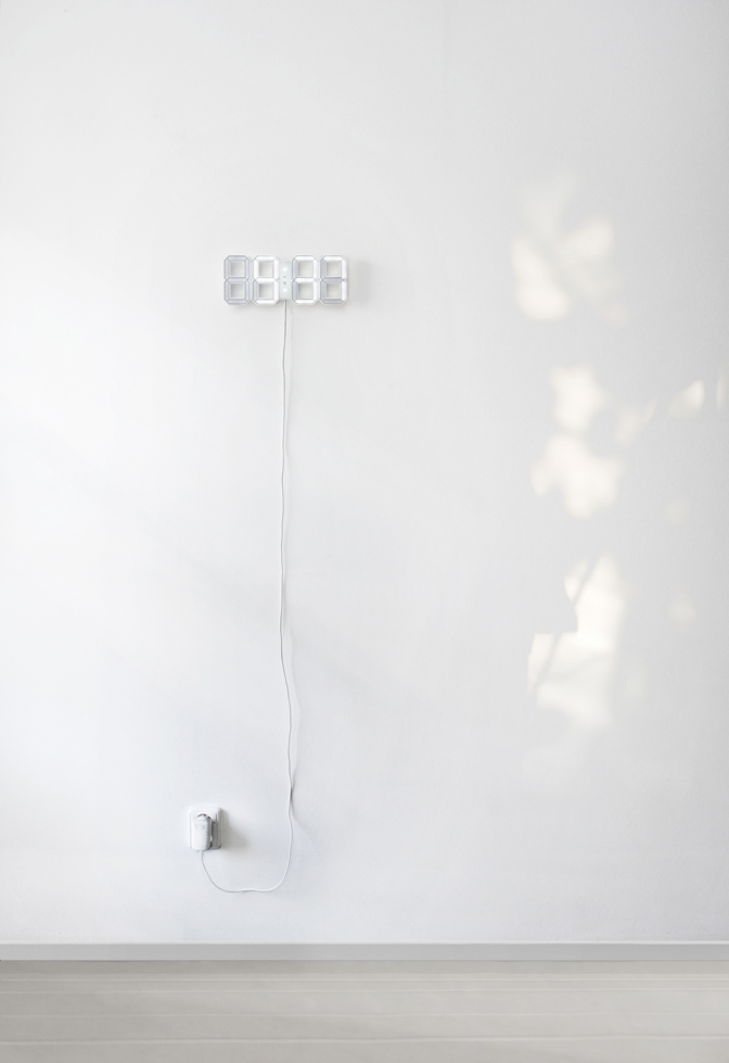 White & White Minimal Digital Wall Clock