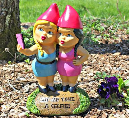 The Selfie Sisters Garden Gnome Is Here To Alert Your Neighbors Of Your Love For Selfies