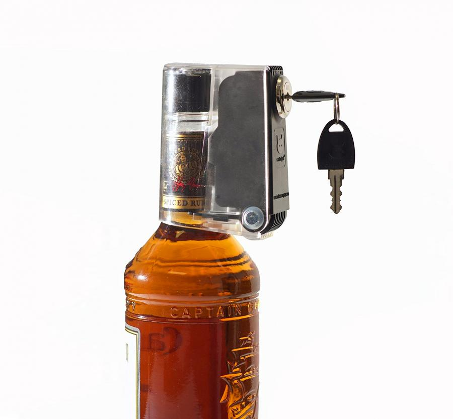 liquor bottle key lock keeps your booze out of the wrong hands. Black Bedroom Furniture Sets. Home Design Ideas
