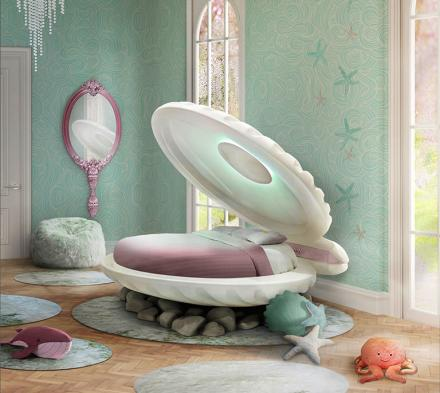 Little Mermaid Bed - Clam Shell Shaped Kids Bed