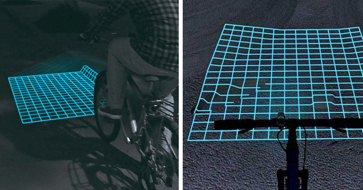 Lumigrids Projects a Laser Grid In Front Of Your Bicycle To See Terrain Changes at Night