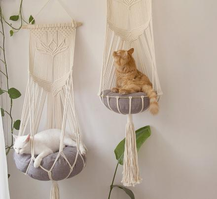 What Kitty Wouldn't Love One Of These Hanging Macrame Cat Hammocks?