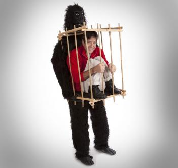 Man In Gorilla Cage Costume