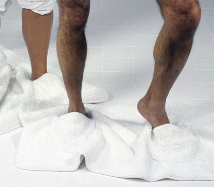 Mat Walk: A Bathroom Mat With Built In Slippers