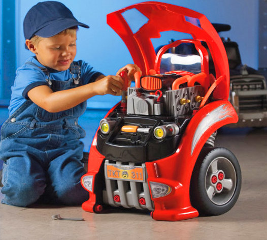 this mechanics toy car is made to look like the front of a car where you child can pop the hood and pretend to fix their own car