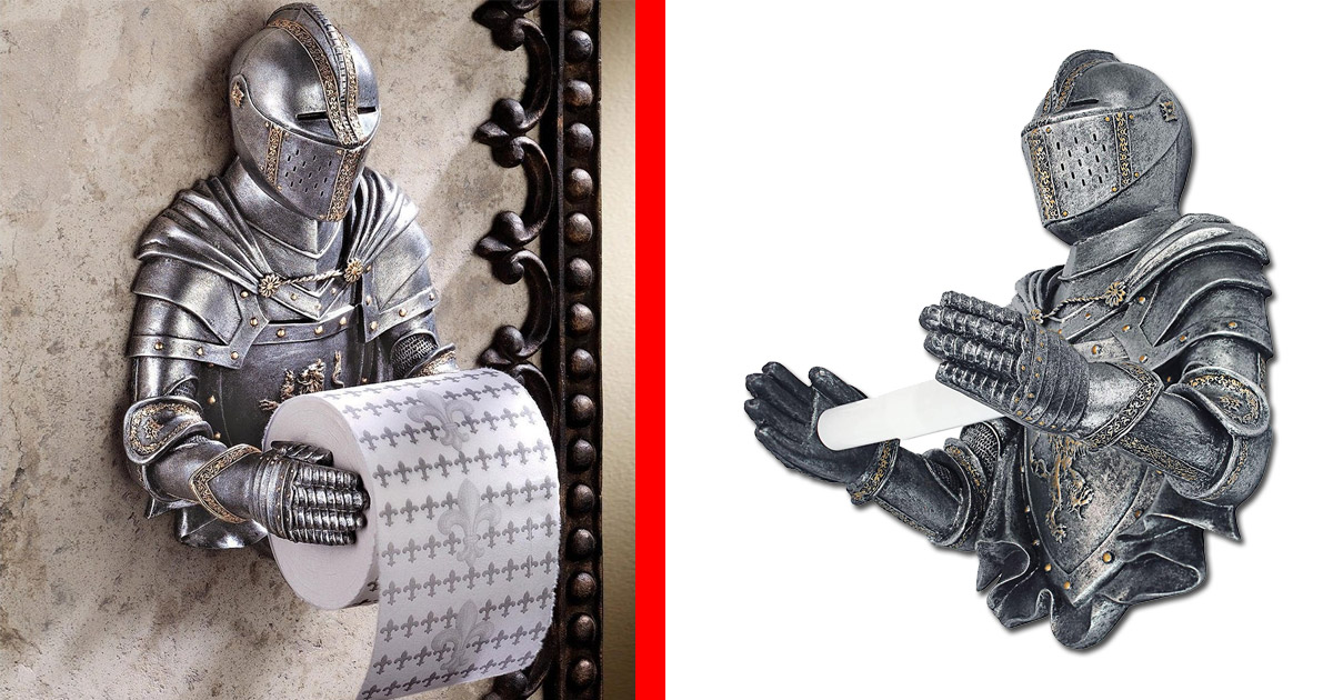 This Medieval Knight Toilet Paper Holder Will Protect Your TP While You
