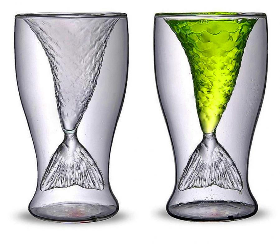 Mermaid Tail Cocktail Glasses Set Of 2