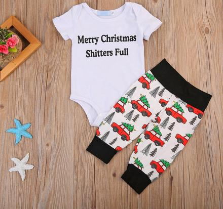 Merry Christmas, Shitters Full - Funny Baby Holiday Outfit