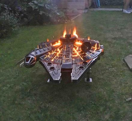 This Millennium Falcon Fire Pit Belongs In Every Stars Wars Lovers Backyard