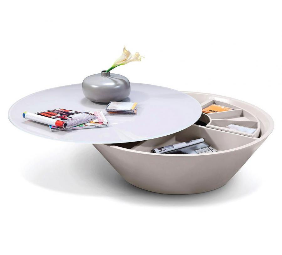 Modrest Pepper A Round Swiveling Coffee Table That Reveals