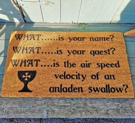 This Bridge Troll 3 Questions Doormat Belongs On Every Monty Python Fanatics Front Stoop
