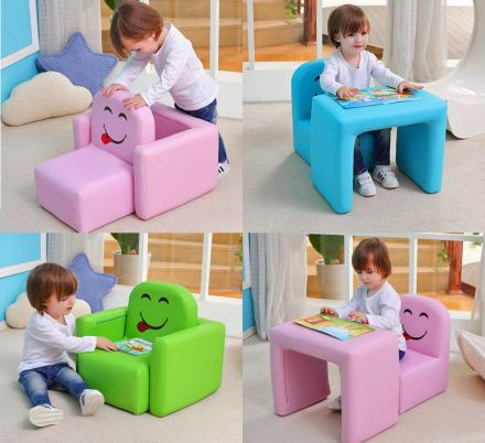 Multi-functional Kids Arm-chair Turns Into a Desk