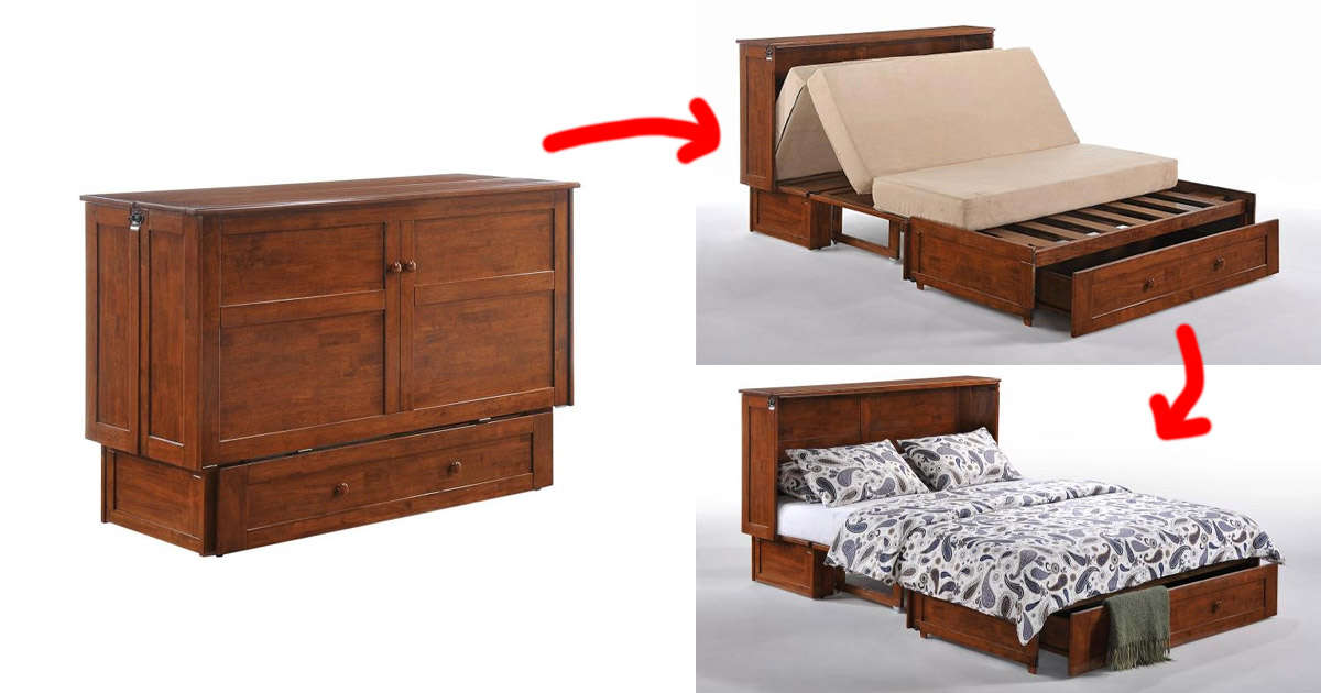 This Murphy Cabinet Bed Transforms Into a Queen Size Bed