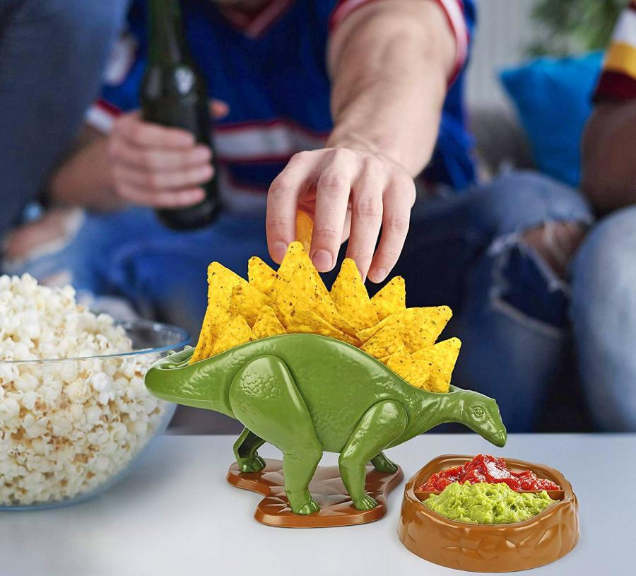 Nachosaurus Dinosaur Chip Holder And Jurassic Salsa Bowl