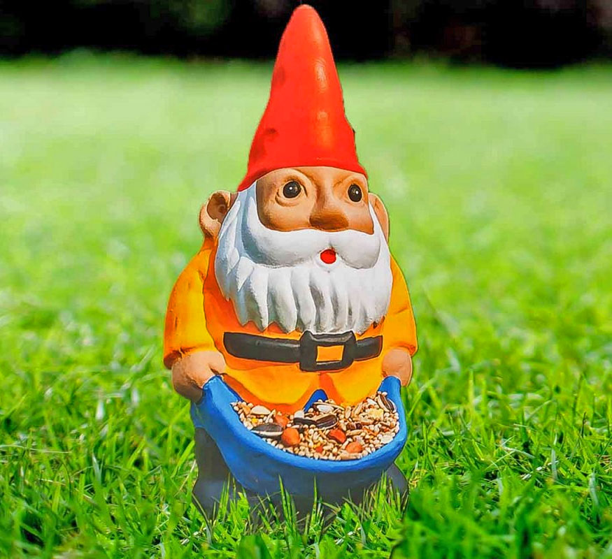 Delicieux The Nibble My Bits Bird Feeder Is A Garden Gnome That Is Essentially A Garden  Gnome That Hast Stuffed His Pants With Bird Seed In Hopes To Get Either Get  ...