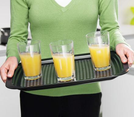 Non-Slip Serving Tray Has Grips That Keeps Things From Sliding Off