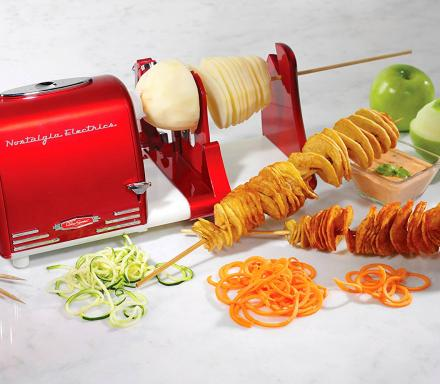 Nostalgia Fruit and Vegetable Peeler, Even Twists Potatoes For Curly Fries