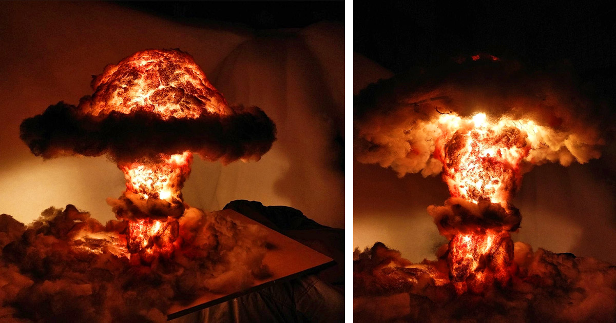 This Incredible Nuclear Explosion Bomb Lamp Looks Just Like a Mushroom Cloud