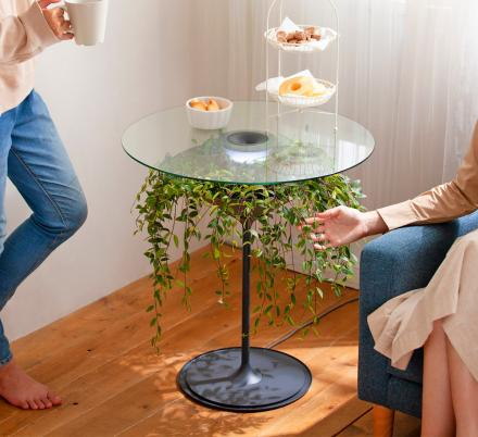 Oasis Table Displays A Hanging Plant Under A Glass Table-top