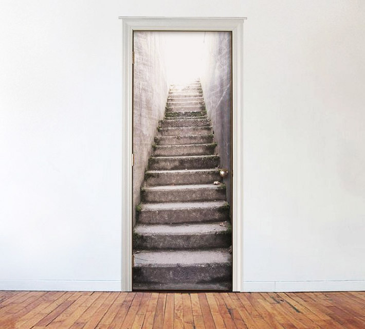 Outside concrete stairs door mural for Door wall mural