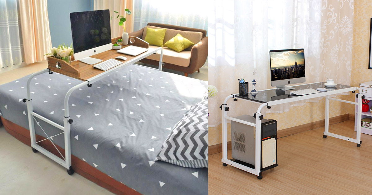 This Over-The-Bed Sliding Desk Lets You Still Work and Eat While In Bed