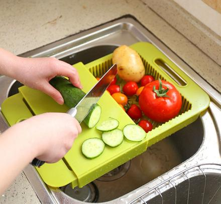 Over-The-Sink Cutting Board Lets You Clean, Chop, and Collect
