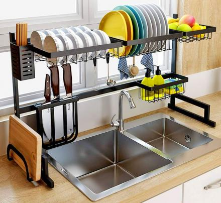 Over The Sink Dish Drying Rack and Storage Area