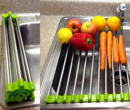 This Genius Roll-Up Sink Rack Lets You Easily Rinse Foods and Dry Dishes