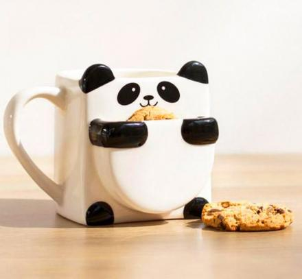 Panda Hug Coffee Mug Has Pocket For Holding Cookies