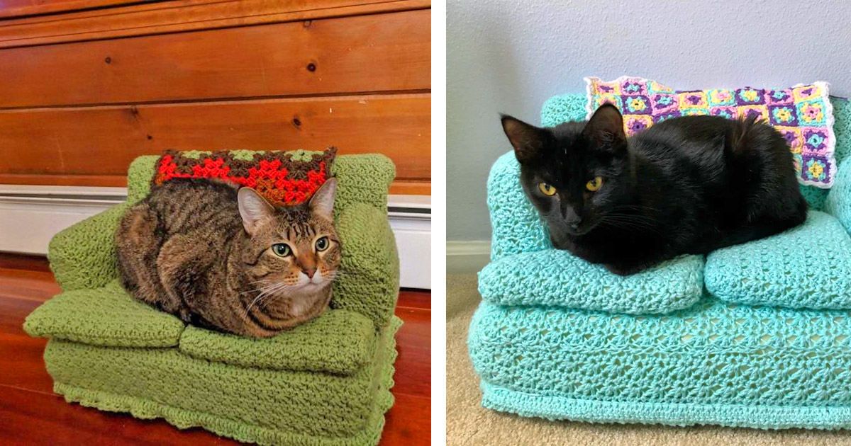 People Are Making Tiny Crochet Cat Couches With Their Free Time, And We Can