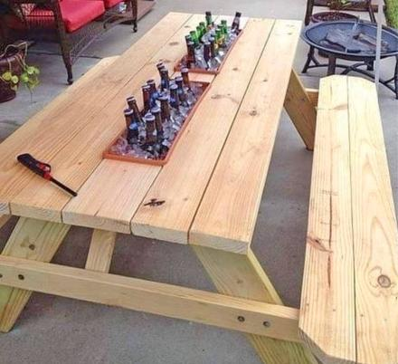 People Are Now Adding Drink Cooler Troughs To Their Picnic Tables, And We Totally Love It