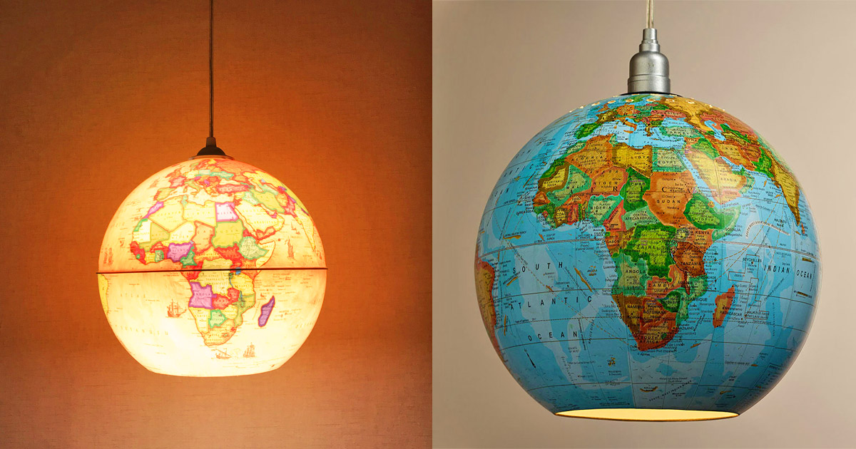 People Are Now Turning Their Old Globes Into Pendant Lights, and They Look Pretty Awesome
